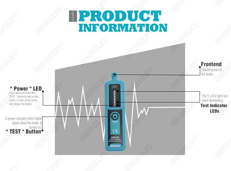 ALL SUN EM4558 Dosimeter Tool Electromagnetic Radiation Detector Protable LED Electromagnetic Waves Level Sensor EMF Meter
