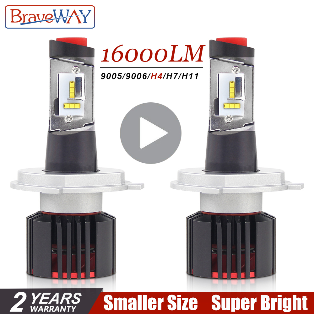 Braveway Csp Chip H7 Led Canbus H4 Led Bulbs For Cars 16000lm 100w 9005 9006 H7 Lamps 12v H4 Led Headlight Turbo Led Hb4 Hb3 H8 Lovely Luster Car Lights