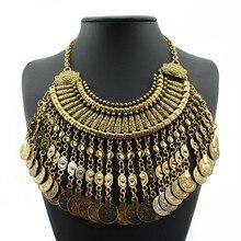 Бохо, антикварная монета, макси колье, женское, Африканское, массивное, Длинная кисточка, винтажное большое ожерелье, s подвески, ювелирное изделие, цыганское ожерелье