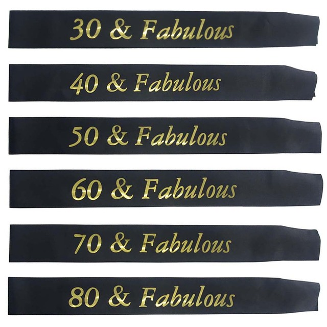 Gold Glitter Birthday Sash 30 40 50 60 70 80 & Fabulous Satin Sash for 30th  40th 50th 60th 70th 80th Birthday Party Supplies