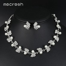 Mecresh European Trendy Simulated Pearl Bridal Jewelry Sets Silver Color Leaves Crystal Wedding Necklace Sets Jewelry MTL517(China)