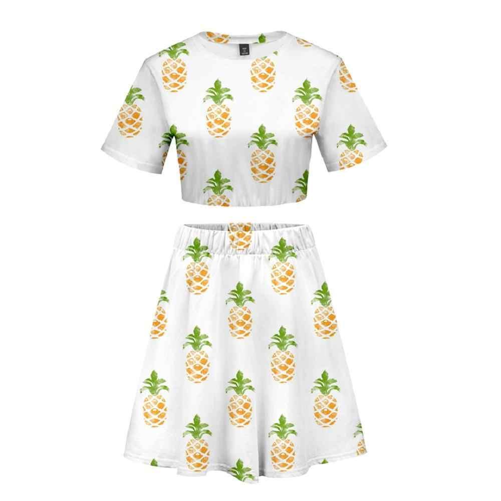 3D фруктовое женское платье укороченный топ платье комплект из 2 предметов летнее платье мягкое удобное платье Kiwifruit оранжевое клубничное 10 видов стилей платье 2XL