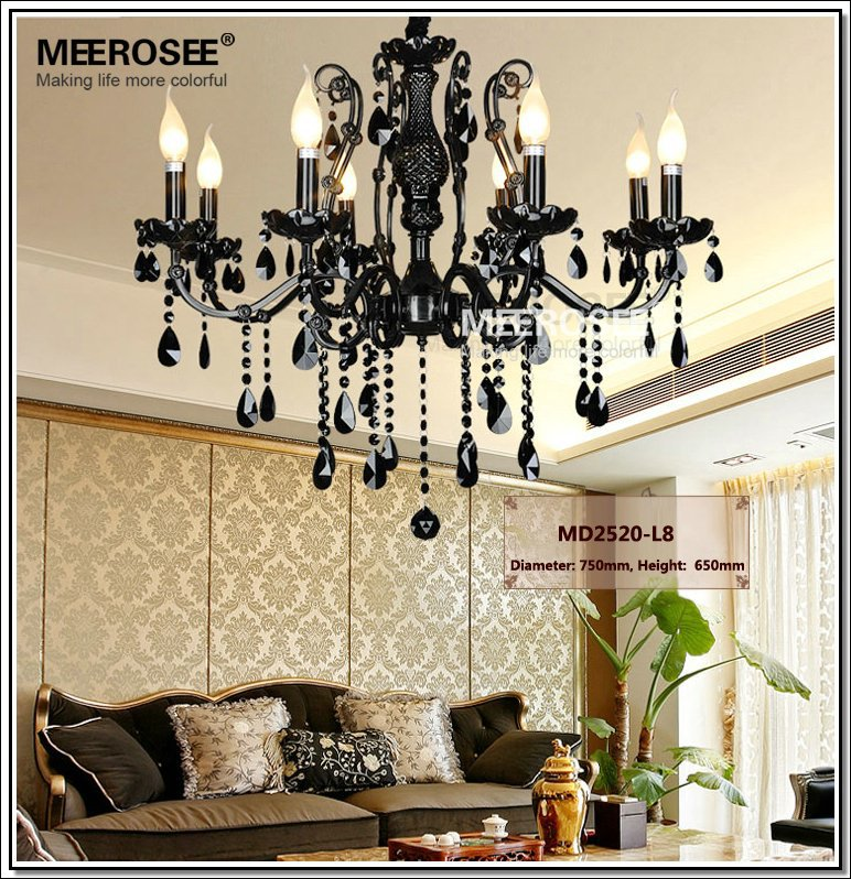 Hot french style crystal chandelier lighting fixture vintage black french style crystal chandelier lighting fixture vintage black wrought iron chandelier suspension hanging lamp light in chandeliers from lights lighting mozeypictures Choice Image