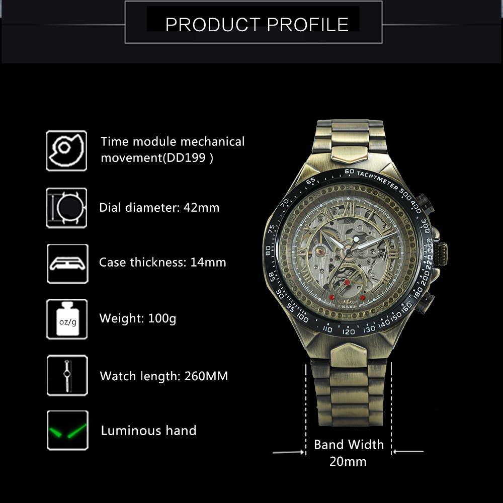 WINNER Vintage Fashion Men Mechanical Watches Metal Strap Top Brand Luxury Best Selling Vintage Retro Design Wristwatches +BOX 11