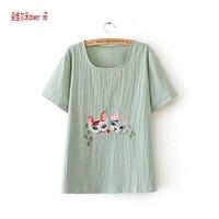 Plus Size XL 4XL Cotton Linen T Shirt Summer High Quality Cat Printed Women Tops Kawaii
