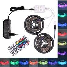 Цветная(RGB) Светодиодные ленты Водонепроницаемый 5050 USB Светодиодные ленты светодиодный лента/светильник лента 5 м 10 м гибкий светодиодный лента с контроллером и 12V адаптер переменного тока