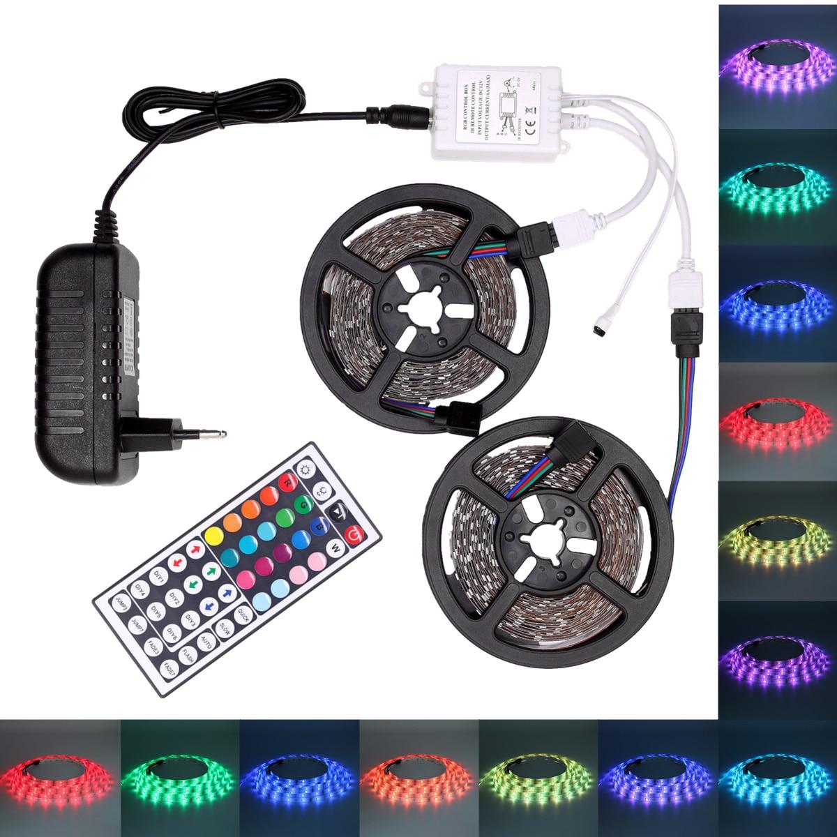 RGB Tira CONDUZIDA Impermeável 5050 USB LED Tira do DIODO EMISSOR de Fita/Luz de Tira 5 M 10 M Ledstrip Flexível com controlador e Adaptador 12 V
