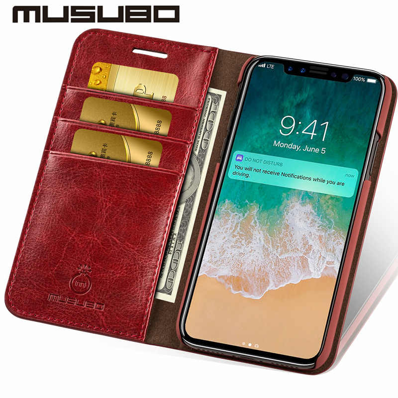 on sale 1b8c2 6bb17 Musubo Leather Phone Case Cover For iPhone 8 Plus 5 5s SE Luxury Card  Holder Wallet Flip Case for iphone Xs Max 7 plus 6s Plus 6