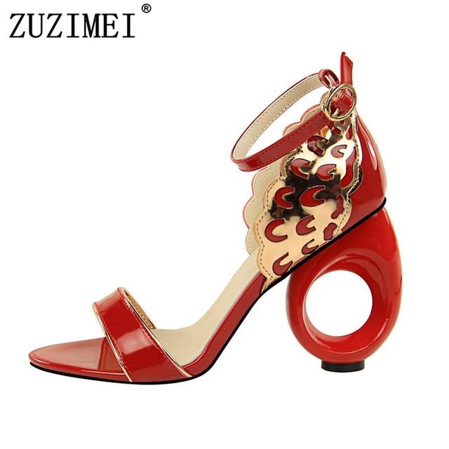 4946b85e3363 Women Summer 10cm Strange High Heels Glitter Sandals Lady Sexy Strap Prom Wedding  Pumps Female Footwear Block Heels Shoes