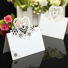 2016 wholesale 100pcs/lot Cut-out skeleton Love Heart Laser Wedding Party Table Name Wine Food Guest Place Cards Favor Decoratio