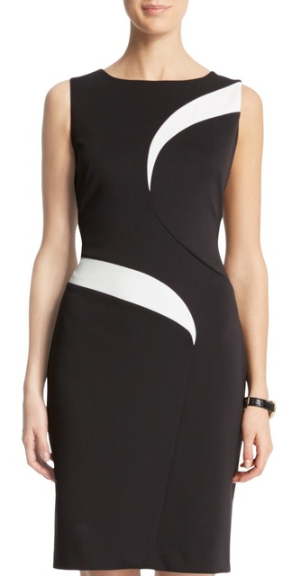 Free shipping Novelty Swirl Combo Dress Elegant Women Color Block Work  Dresses 8165