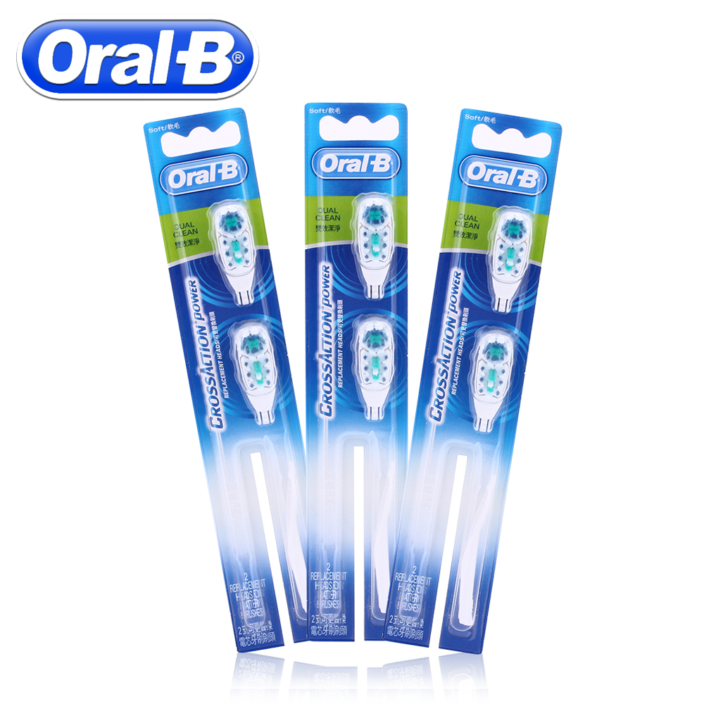 6pc/3Pack Oral B Electric Toothbrush Heads Dual Clean Soft-Bristled For Cross Action Replacement Spare Tooth Brush Heads