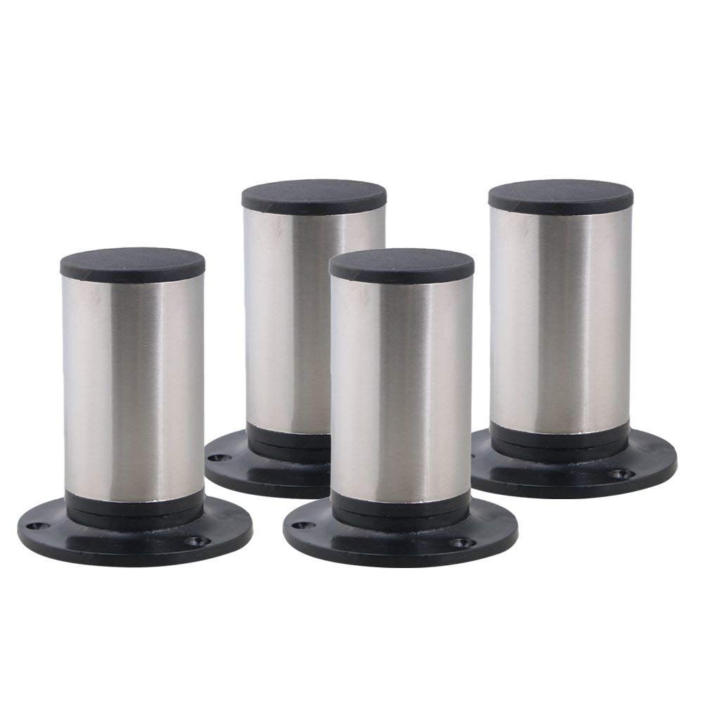 Stainless Steel&Plastic 100x85mm Round Adjustable Furniture Legs Table Sofa Cabinet Plinthed Legs Set Of 4