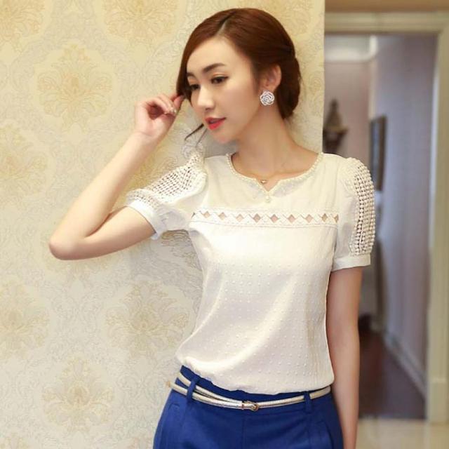 a40eda388 Mulher verão camisa Top de Chiffon de manga curta blusa de renda Colete  menina Com Decote