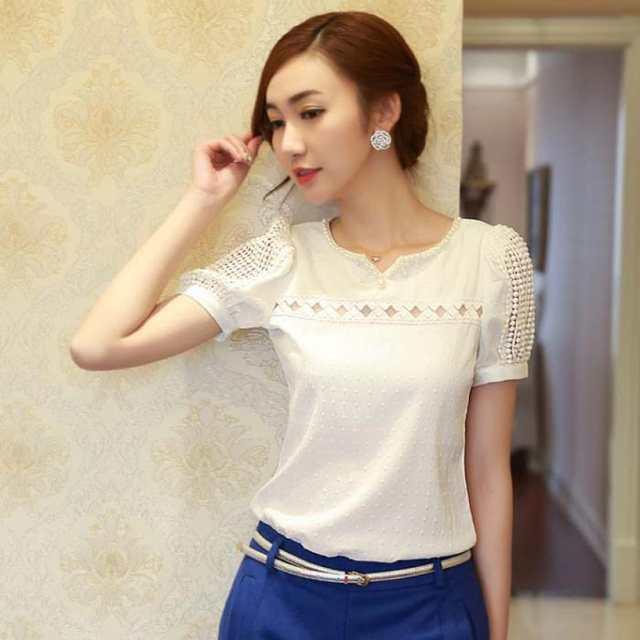 3dc316a6a3 placeholder Mulher verão camisa Top de Chiffon de manga curta blusa de  renda Colete menina Com Decote