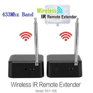 Extensor de controle remoto ir, repetidor de sinal de controle remoto sem fio, infravermelho, hdmi, kit de transmissor, emissor de luz, 1 par, 433mhz