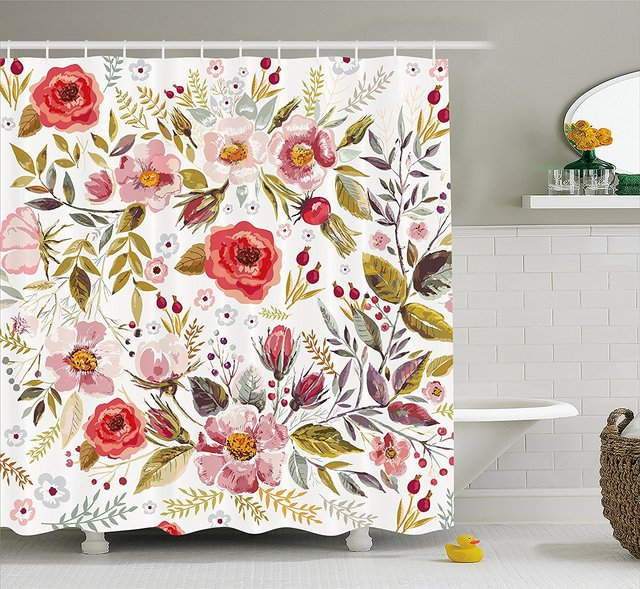Vintage Shower Curtain Floral Theme Hand Drawn Romantic Flowers And Leaves Illustration Fabric Bathroom Decor Set