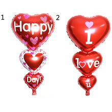 2 Sizes Baloon Big I Love You ang Happy Day Balloons Party Decoration Heart Engagement Anniversary Weddings Valentine Balloons(China)