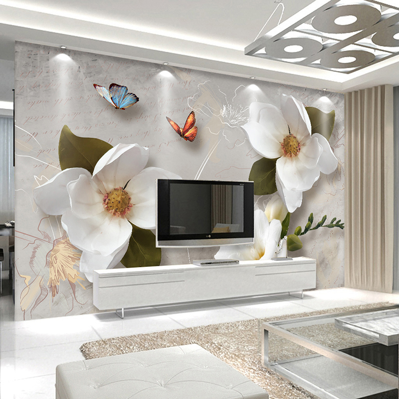 Custom 3D Wall Murals Wallpaper European Style Retro Flower Butterfly Desktop Wallpaper For Living Room TV Backdrop Wall Mural book knowledge power channel creative 3d large mural wallpaper 3d bedroom living room tv backdrop painting wallpaper