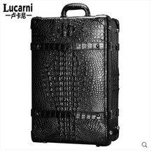 lukani крокодиловой кожи тяга мужчин перемещая коробка карты чехол чемодан багажа для мужчин и коробка женщин-интерната