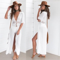 Beach Cover up Crochet White Swimwear Dress Ladies Bathing Suit Cover ups 3