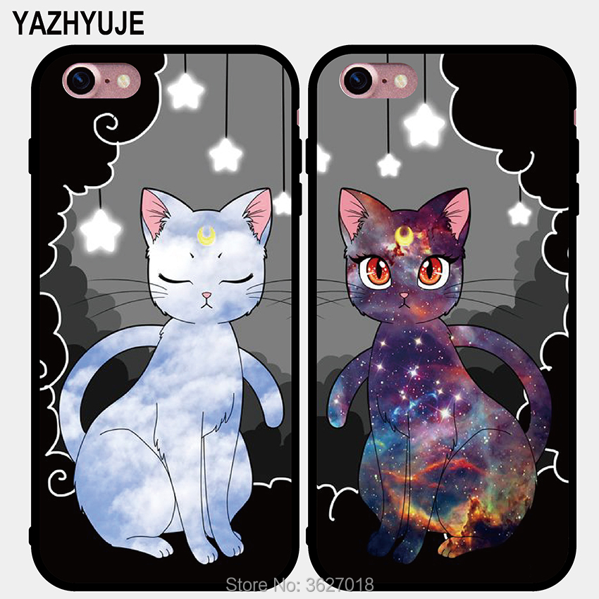 Half-wrapped Case Wuxinhca Fashion Couples Case For Iphone 6 6s Sailor Moon Luna And Artemis Cat Phone Case Hard Pc Cover For Iphone6 6s Plus Capa