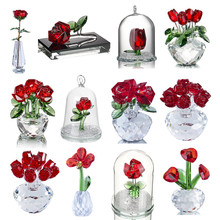 H&D 12 Styles Crystal Red Flower Figurines Spring Bouquet Sculpture Ornament Souvenir Collectible Gift Home Decor Wedding Favors