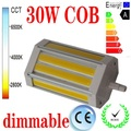Бесплатная доставка 30 W светодиоидная лампа с регулируемой яркостью R7S со светодиодной подсветкой 118 мм без вентилятора COB led R7S лампа J118 R7S ...