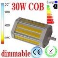 Gratis verzending 30 W dimbare R7S led licht 118mm GEEN Ventilator COB led R7S lamp J118 R7S AC85-265V