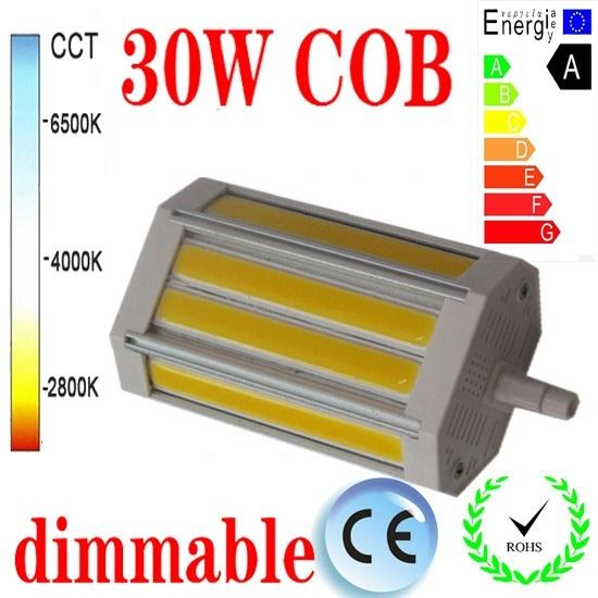O envio gratuito de 30 W R7S dimmable levou luz 118mm NENHUM Fã COB lâmpada led R7S J118 R7S AC85-265V