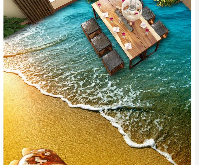 Wallpaper For Bathroom Waterproof Beach Shell 3d Floor Three Dimensional Painting Floor Tiles
