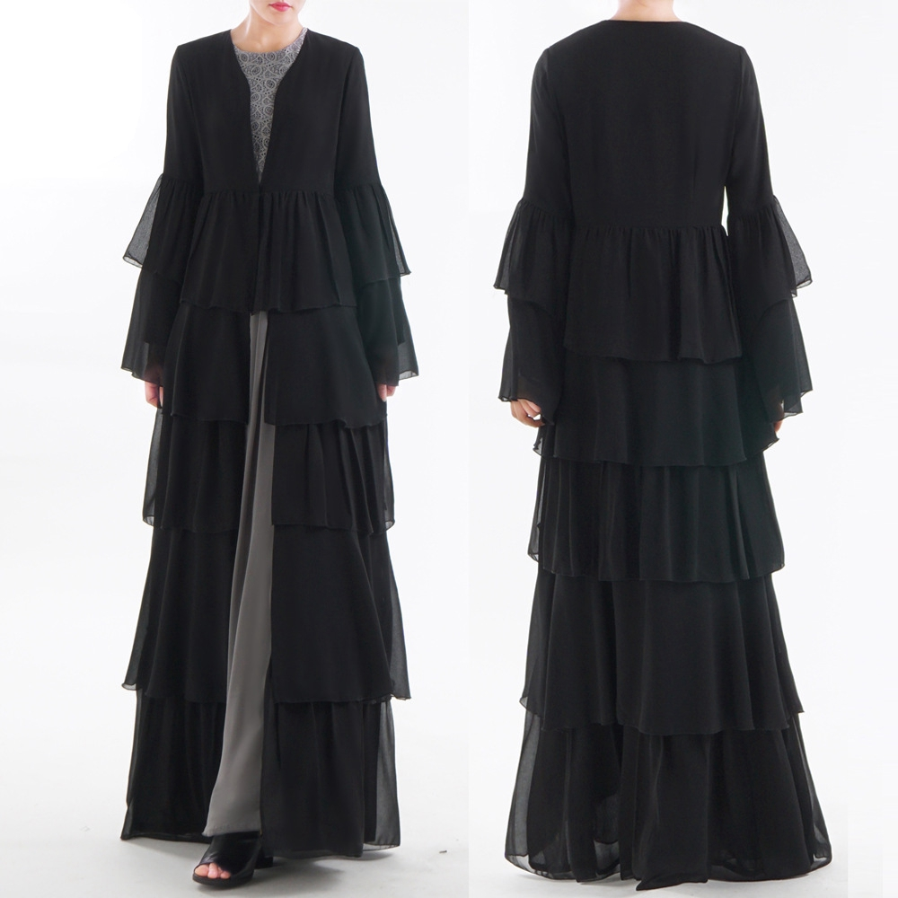 Summer Plus Size S-XXL Abaya Muslim Ramadan Women Long Loose Dubai Cardigan Chiffon Dress Dubai Turkish Islamic Prayer Clothing