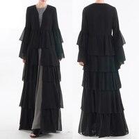 Yaz Artı Boyutu S XXL Abaya Müslüman Ramazan Kadınlar Uzun Gevşek Dubai Hırka Şifon Elbise Dubai Türk İslami Namaz Giyim|İslami Giyim|   -