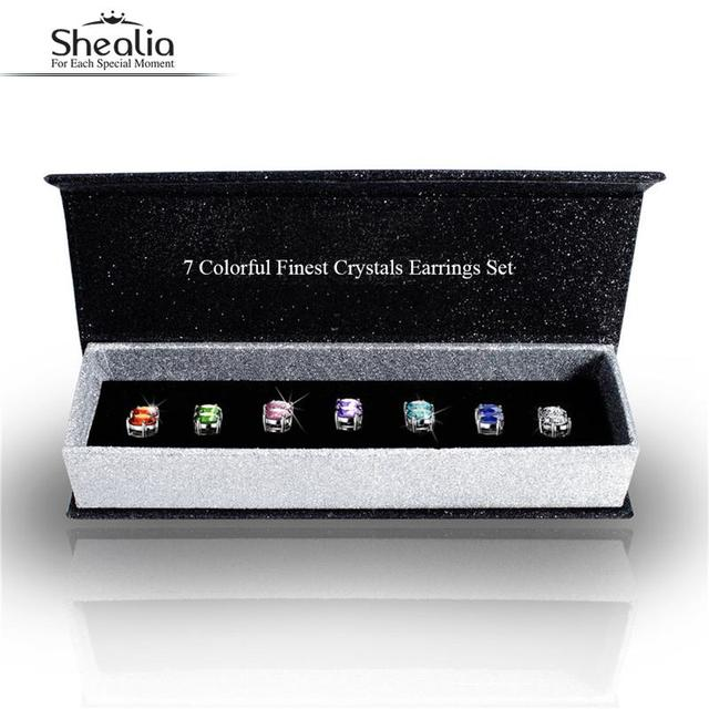 SHEALIA 7 Pairs White Gold Plated SWA Elements Crystal Stud Earrings Set For Women Birthday Gift brinco Fine Jewelry Accessories