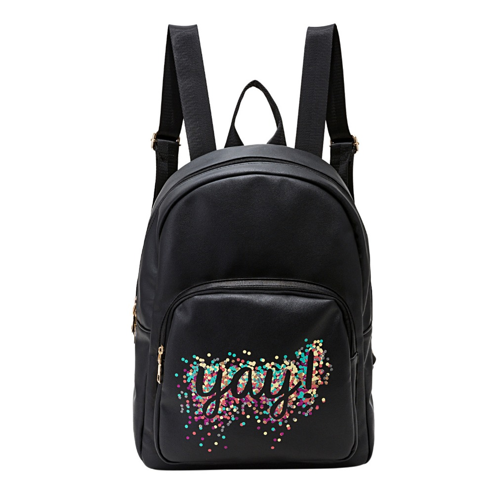 Simple Women PU Leather Small Backpack Daypack Fashion Minimalist Mini Bagpack Printing Back Pack
