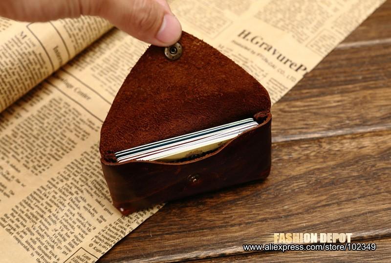 Oil Waxed Dark Brown Credit Card Wallet Card Bag Coin Wallet man and women (4)