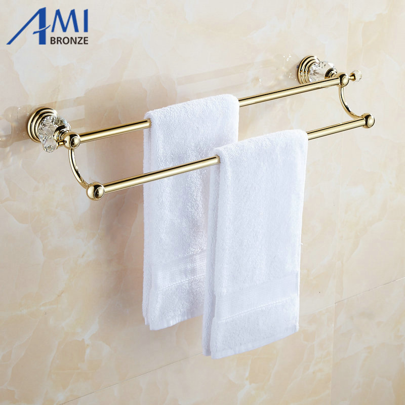 61 Crystal Series Golden Polish Copper Double Towel Bar Bathroom Accessories Sanitary Wares Towel Rack Towel Shelf 50CM sanitary ware ffcf6588 towel bar bathroom accessories metal pendant