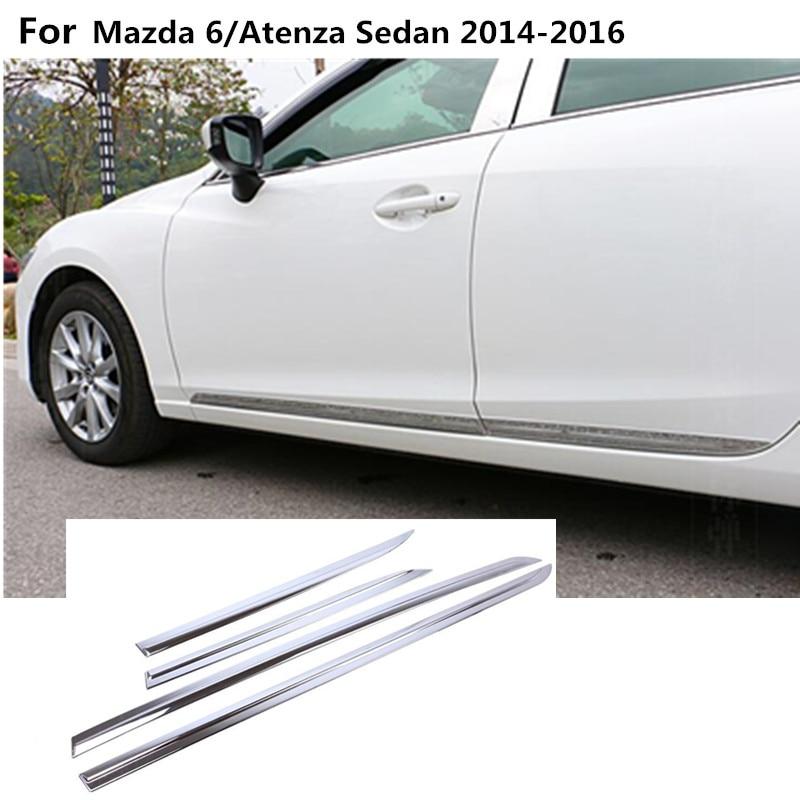 car styling body cover detector bumper threshold Side Door Body trim Strip Molding 4pcs For Mazda 6/Atenza sedan 2014 2015 2016
