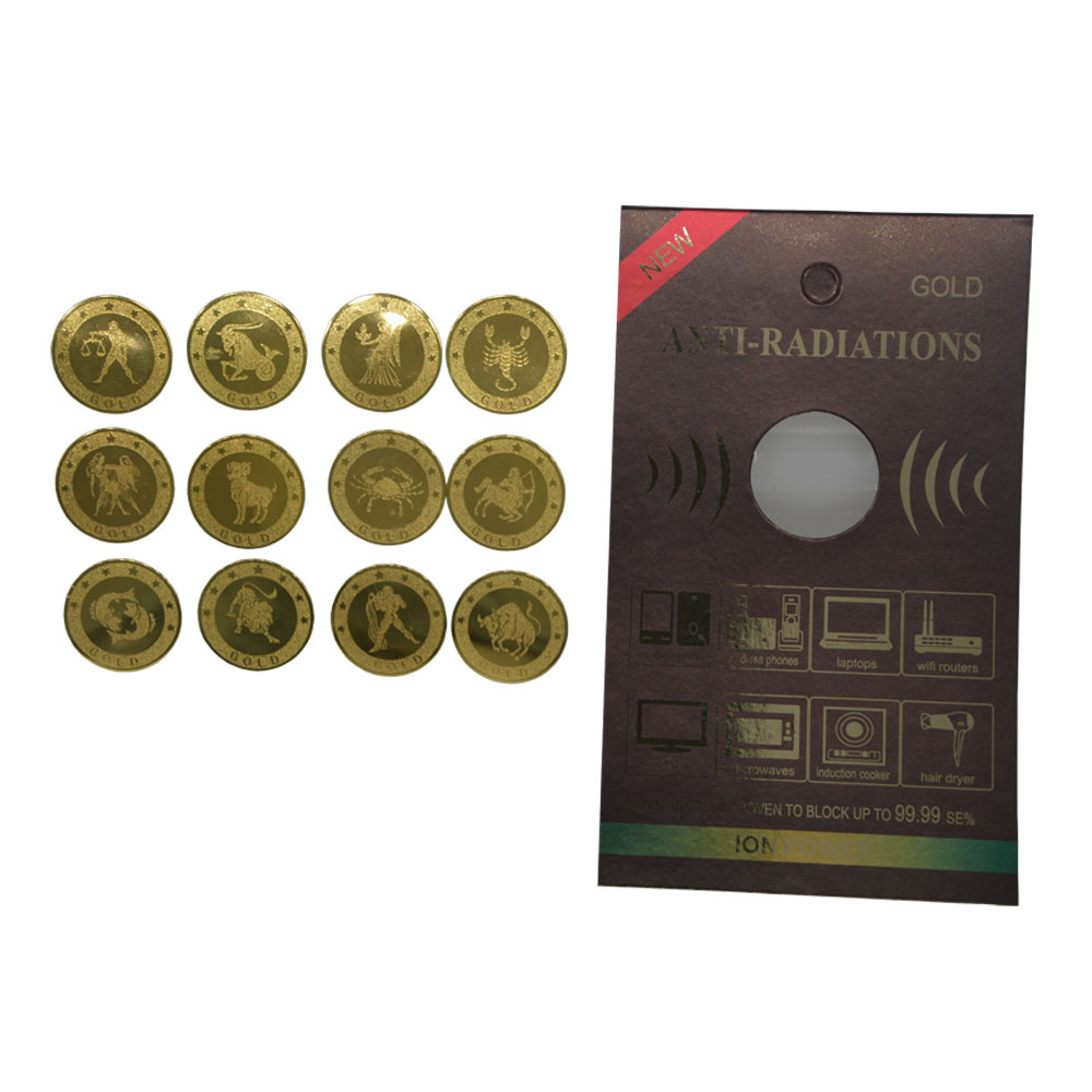 New Arrivals! Round Gold Sticker Constellation Series Anti Radiation Shield For Mobile Phone With Manual Paper Package