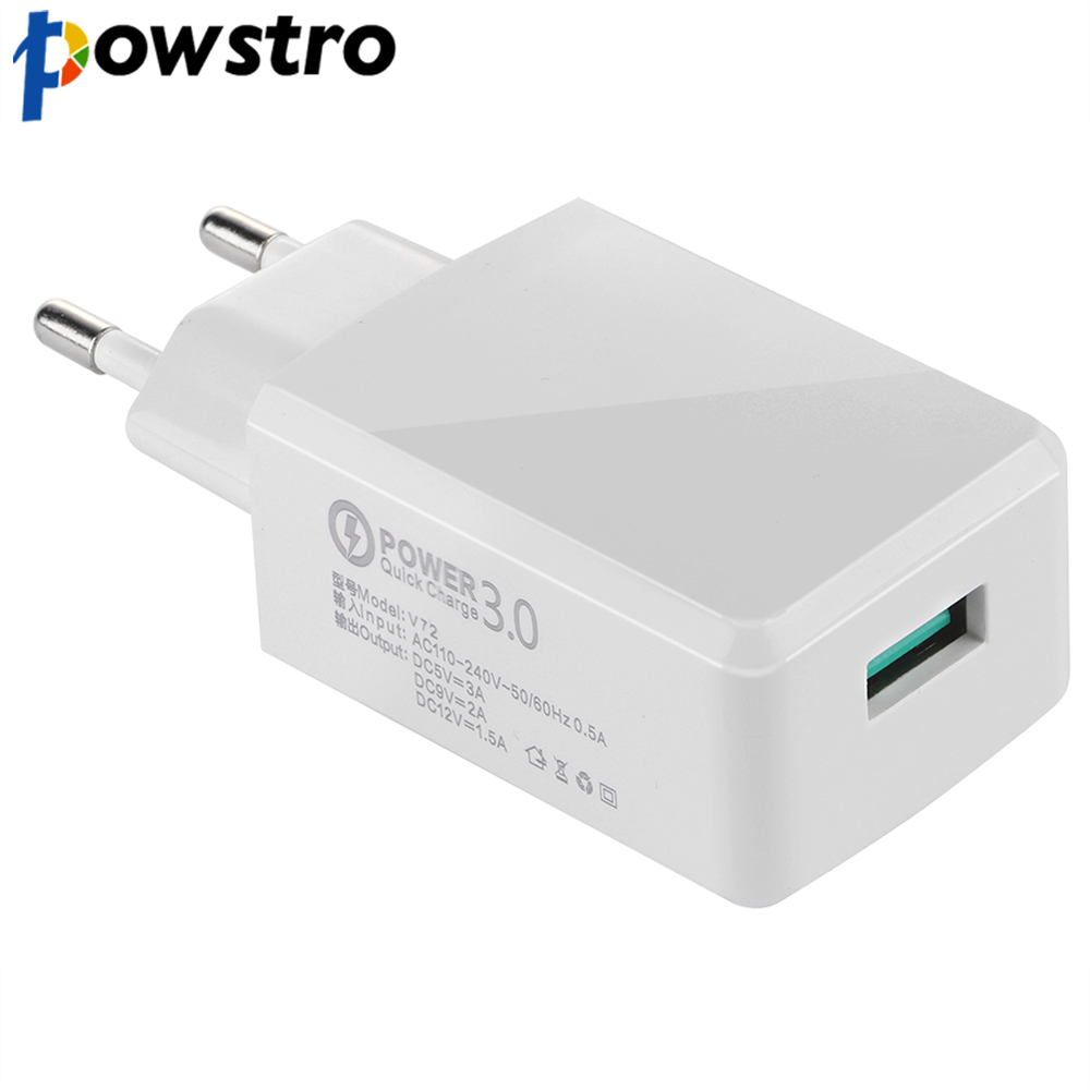 Powstro Quick Charger 5V 3A QC3.0 USB Wall Charger Travel Smartphone Adapter for Samsung S6 S7 S8 for iPhone Tablet MP3 MP4