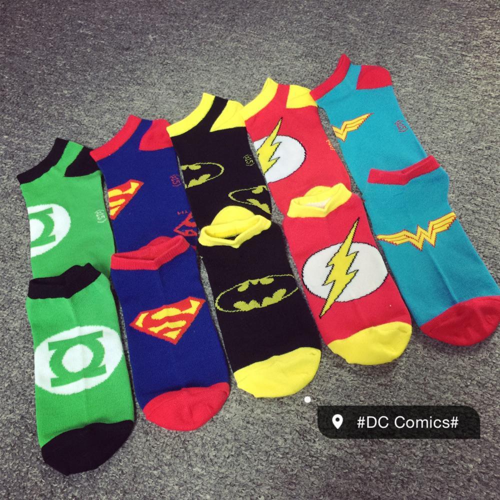 2019 Female Marvel Comics Heroes General Socks Cartoon Superman Batman Boat Socks Women Stitching Pattern Non-slip Casual Socks