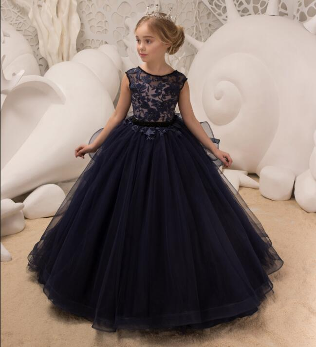 Fluffy Pageant Dresses for Girls Glitz Ball Gown Deep Blue Lace Appliques Birthday Flower Girl Dresses for Wedding luxury fluffy flower girl dresses for weddings 3d floral appliques long sleeve girl s birthday dress gorgeous pageant gown