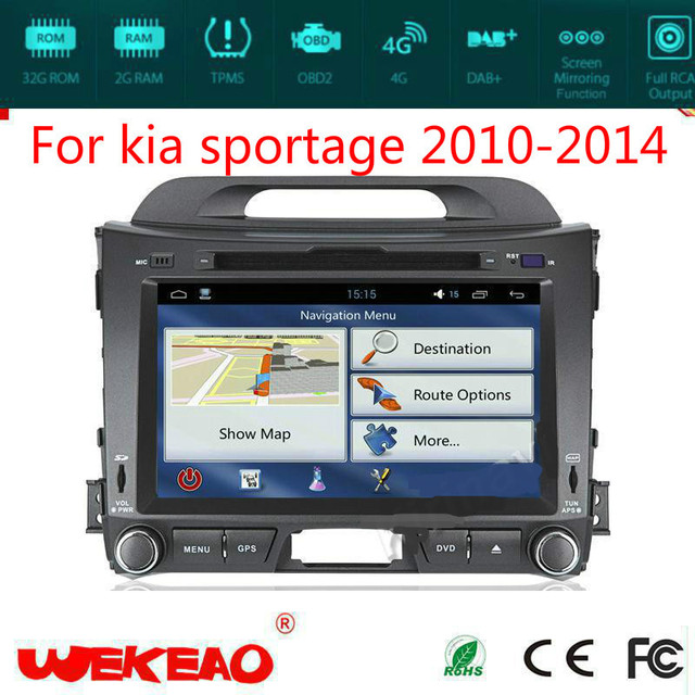 Wekeao Luxury Car Multimedia GPS Navigation Device For Kia Sportage 2010-2014 CD/DVD Play Support Wifi 4G Quad Core Android 7.1