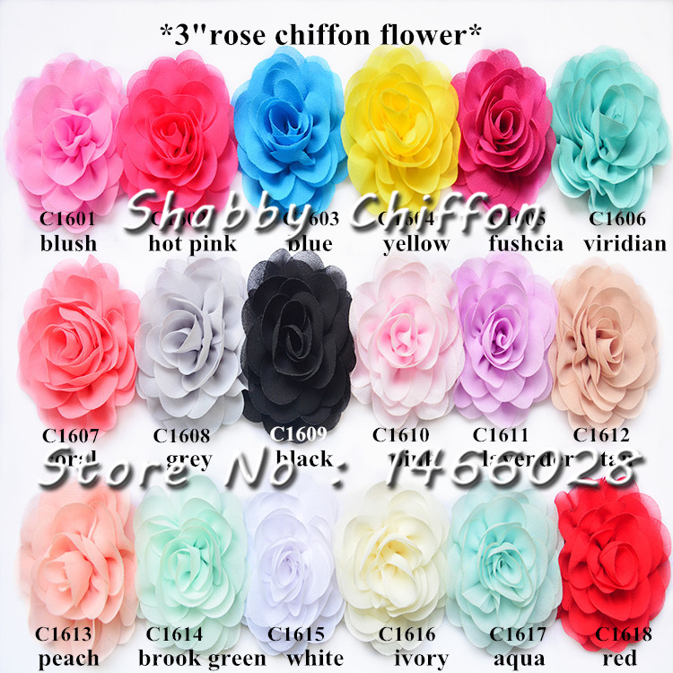 100 шт./лот, 3 потертый Роза шифон цветы для heaband аксессуары для волос ...