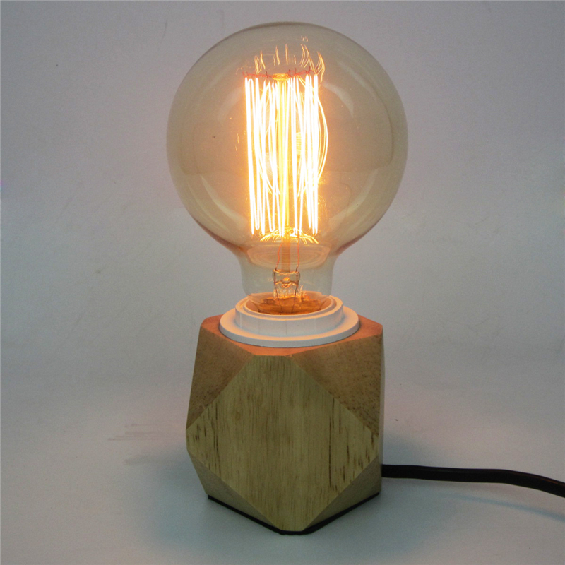 E27 Nordic Wooden Table Lamps Edison Antique Light Decorative Fixtures Creative Retro Wooden Polygon Table light Retro Lighting