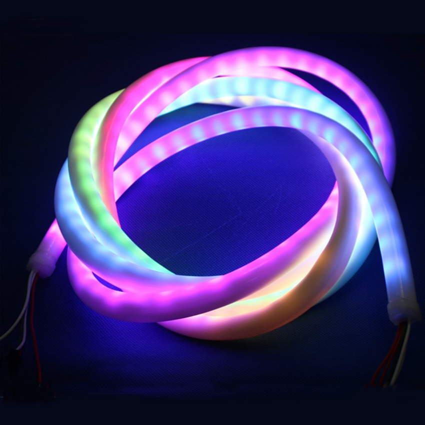 5V 12V WS2811 SK6812 WS2812B RGB addressable led neon pixel light rope 30/60leds/m waterproof IP67 in milky tube 1m 2m 3m цена