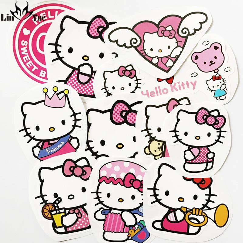 11PCS Japanese cartoon hello kitty cat car stickers Skateboard Suitcases Guitar Bike Laptop Vinyl PVC cute Waterproof decal