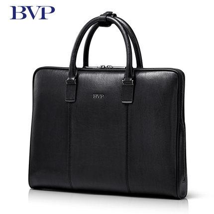 все цены на BVP Brand High Quality Genuine Leather Men Portable briefcase Laptop Black Real Leather Zipper Messenger Bag Business Bag  j40 онлайн