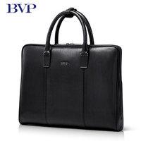 BVP Brand High Quality Genuine Leather Men Portable briefcase Laptop Black Real Leather Zipper Messenger Bag Business Bag j40