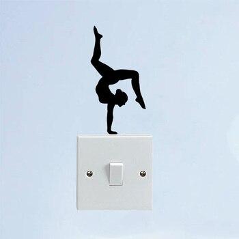 Sport Girl Gymnast Yoga Vinyl Door Home Wall Stickers Switch Decals 5WS1300 1